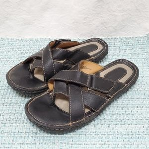 Cabela's Sandals Women's 9 Black Leather Adj